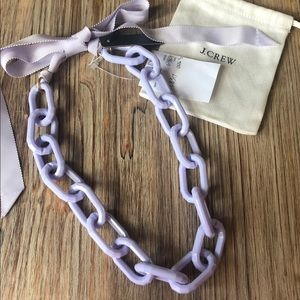 J. CREW Lavender Purple Link Necklace with Ribbon